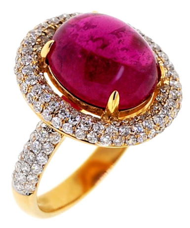 Cabochon Pink Tourmaline Diamond Ring